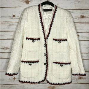 Zara White Tweed Blazer W/ Red and Blue Trim